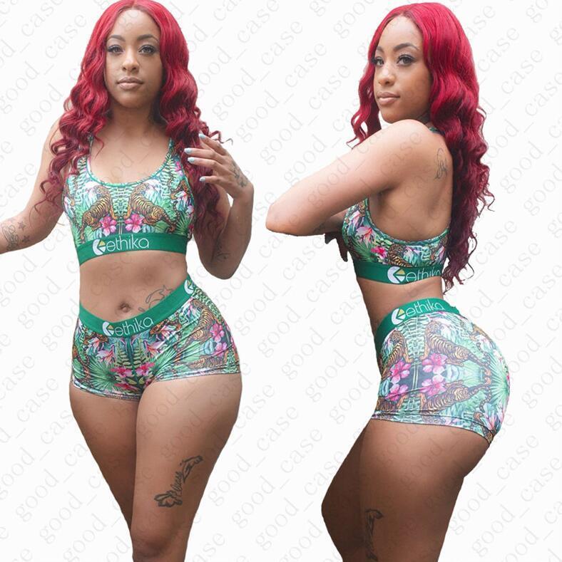 Frauen-Sommer-Badeanzug-Outfits Tankini Anzug Bar + Shorts 2 Stücke Tankinis Sets Mode Damen Bikini-Badebekleidung D51902