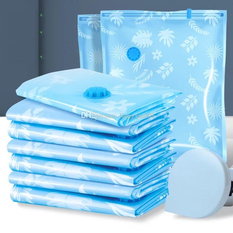 10 unids / set bolsas de vacío para la ropa con la bomba de aire de la mano edredón bolsa de almacenamiento transparente organizador del armario plegable comprimido paquete