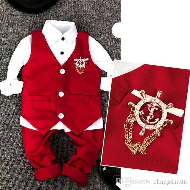2019 new Child Vest Suit Fashion Kid wedding Summer suits for 3Parts Red and White