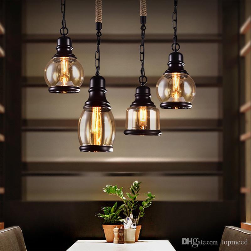 Lámpara colgante Loft vintage Estilo industrial Lámpara de vidrio ámbar Barra / Restaurante Barra de habitación retro Lámpara colgante de 3 estilos
