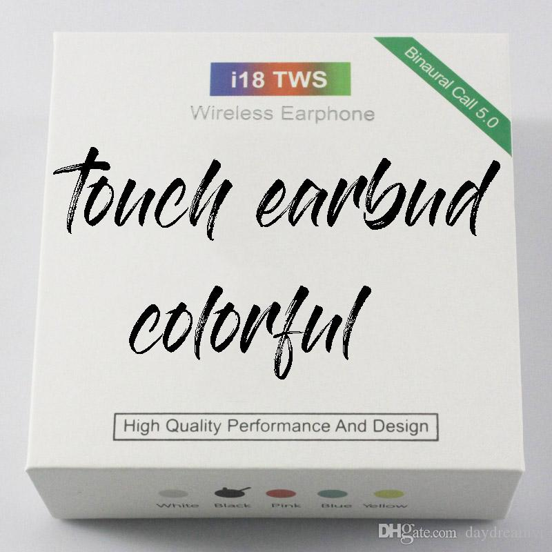 I18 Tws Bluetooth Earphone Sport True Wireless Earbuds Music Headset Touch Headphone Colorful Charge Box For Huawei Xiaomi Samsung Iphone X Cell Phone Bluetooth Earbuds Cell Phone Earphones With Microphone From Daydreamvr
