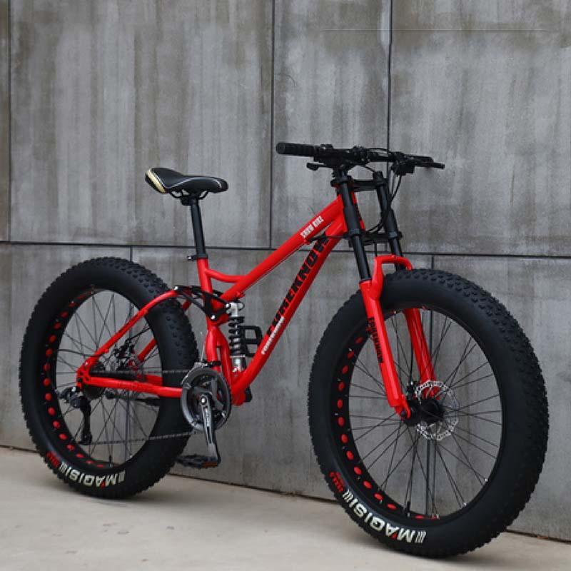 Off-road plaj kar arabası ön ve arka çift amortisör hızı 26 inç 24 hız süper geniş 4.0 büyük lastik dağ bisikleti