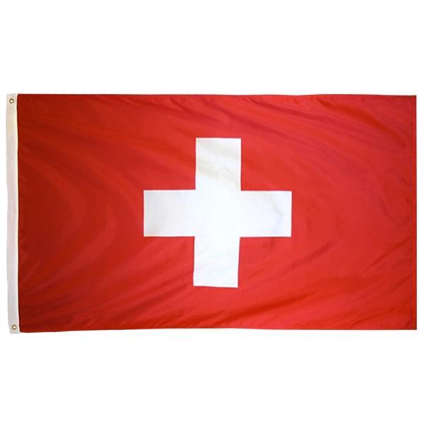 Aerlxemrbrae flag Swiss 100% Polyester Schweiz Flag 3x5 ft Fahne 90 x 150cm