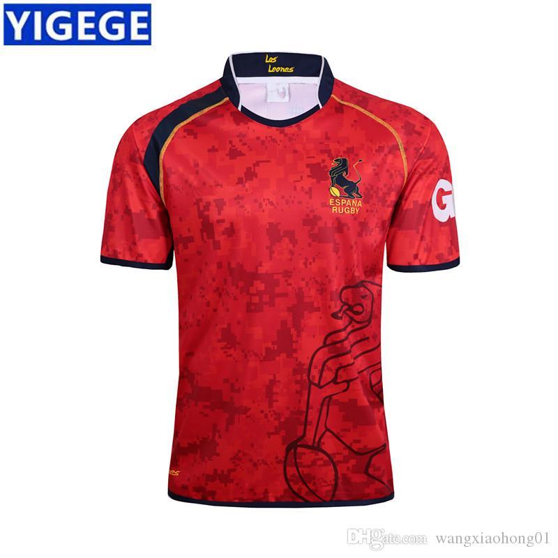 ESPANHA 2017/18 CASA RUGBY JERSEY Espanha camisas de rugby camisas vermelhas, espanha Rugby Jersey Camisetas tamanho S-3XL (pode imprimir)