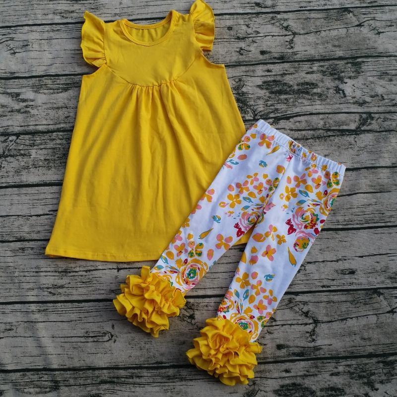 2020 crianças Primavera / Verão 100% Algodão Vestuário Set Crianças Pérola Sólidos Cotton Top Jogo Floral Ruffle Pants Set Bebés Meninas Wear