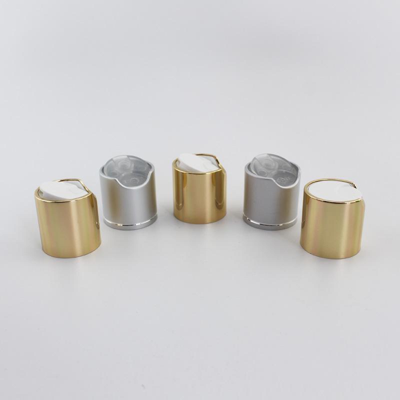 100шт Silver Disc Top Caps с алюминиевым Воротником 24/410 Алюминиевого шампунь Cap Пластиковые бутылки Контейнера Крышка двухтактных, Пресс крышка