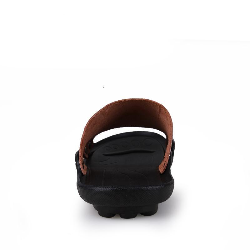 Genuine Leather Slipper Estate uomini scarpe casual flip flop esterna coperta antiscivolo Nero piatto della spiaggia di modo diapositive Size 36-46
