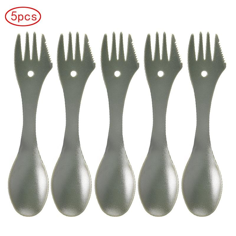 PVC 5pcs Outdoor Camping Picnic Tableware Spoon Fork Safe And Environmentally Friendly Non-toxic Camping Tableware