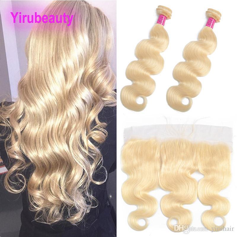 Estensioni indiane dei capelli vergini Bundles con 13x4 pizzo frontale Blonde 613 Colore Body Wave Wefts con 13 * 4 Colore biondo frontale