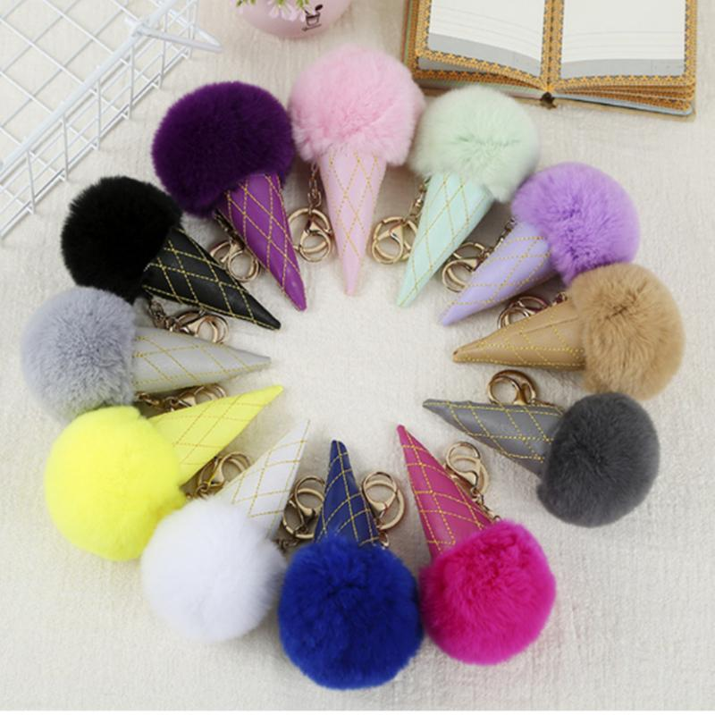 12 color Ice Cream Pompom Ball keychain PU Carabiner Key Chain keyring Women Kids Key Holder Bag pendant key Ring Favor MJJ194
