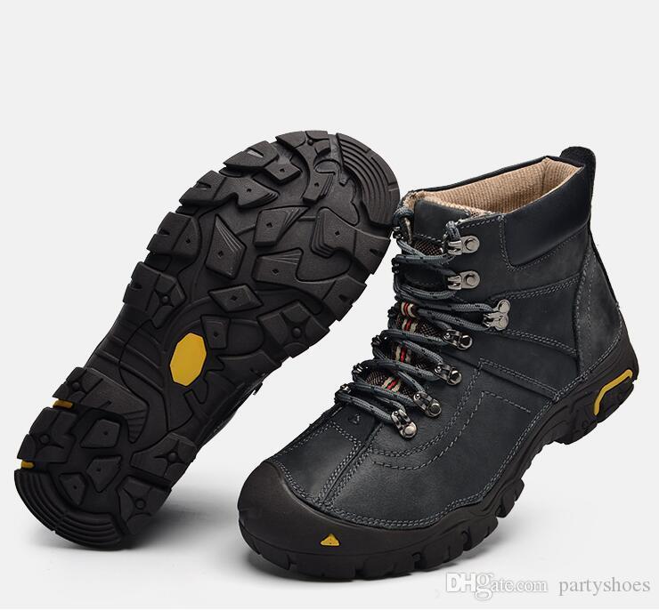 Süper Sıcak Kış Erkek Bot Gerçek Deri Erkekler Kış ayakkabı erkekler Askeri Kürk Boots Zapatos Hombre