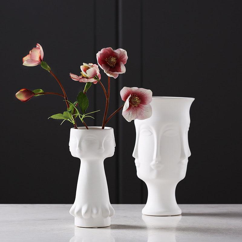 Creative Flower Vase Human Face White Ceramic Vase Ornaments Crafts Gifts Home Furnishings Nordic Ceramic Art Decoration
