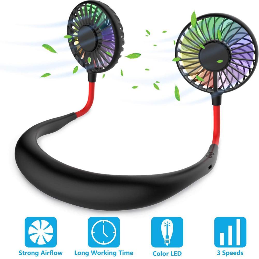 Katlanabilir Boyunband Mini Boyun Fan USB Soğutma LED Boyun Fan Kamp Turizm için En Iyi Çocuklar Yaz Soğutucu Açık Gadgets