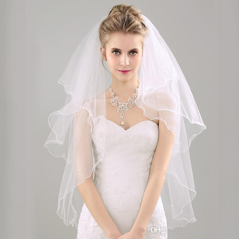White Beading Wedding Veil Bridal Accessory With Free Comb Short Pearl Custom