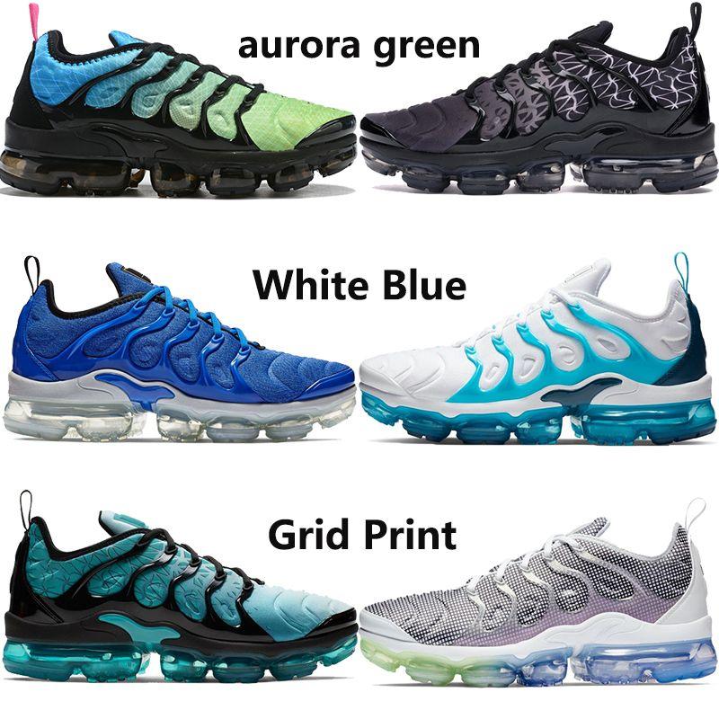 New arrival aurora green PLUS TN top running shoes men women be true bleached aqua lemon lime grape mens trainers sneakers