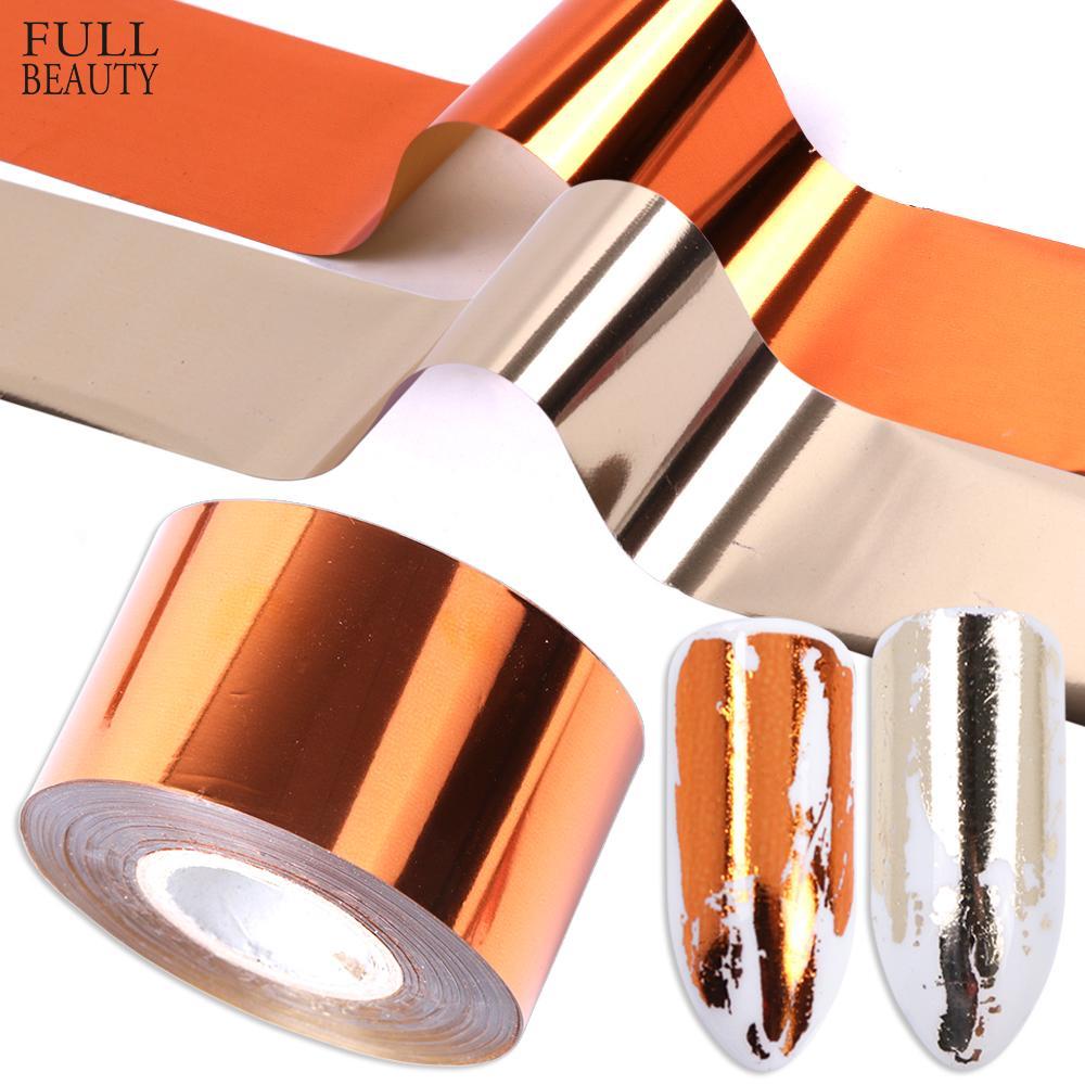Atacado 1 rolo folha de transferência de metal prego de ouro fosco prata Nail Art polonês adesivo decalques DIY universo Decorações CH996-2