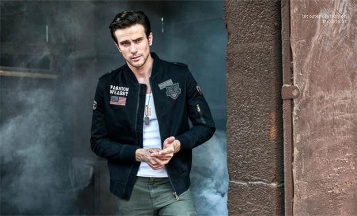 Bahar Moda Pilot Erkek ceketler Yaka Uzun Kollu Erkek Coat Standı