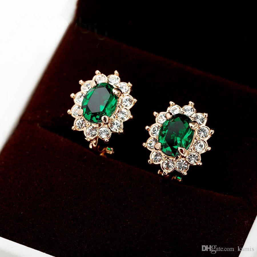 new flower green crystal clip earings for non pierced ears jewellery women wedding party bijoux fashion no hole earrings jewelry gift