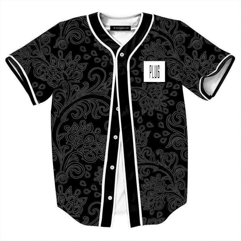 الصيف نمط قميص أسود للرجال ريترو الصين الزهور طباعة البيسبول جيرسي ذكر عارضة V عنق Camisetas Masculinas