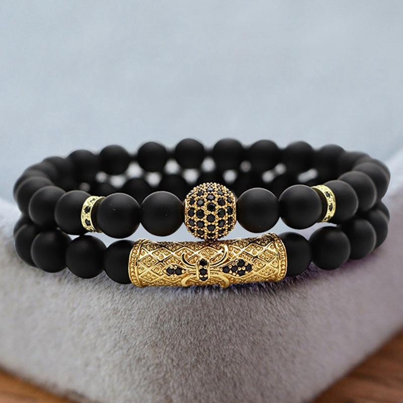 2pcs / set charme da moda homens homens pulseira clássico Matte Onyx pedra Set Pulseira Para Pave CZ Jewelry presente