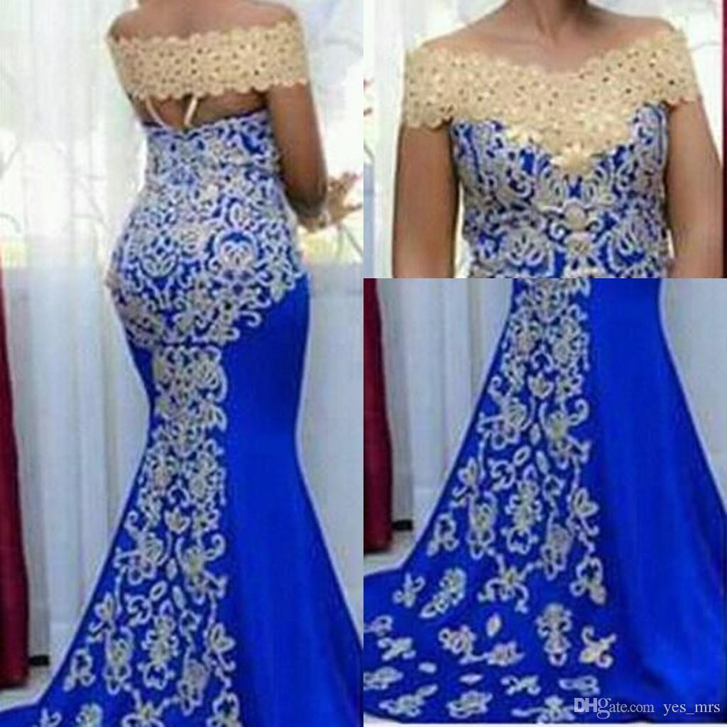 Off barato Africano vestidos de noite ombro desgaste Arábia Saudita para mulheres Mermaid Royal Blue Champagne Lace apliques de contas formal Prom Vestidos