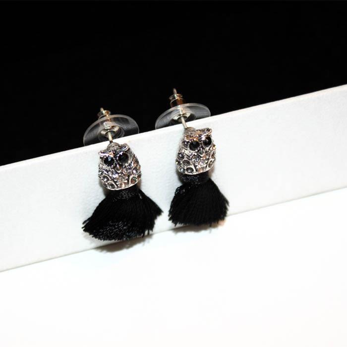 Wholesale-ashion luxury designer glittering cute lovely diamond owl animal tassel stud earrings for woman girls