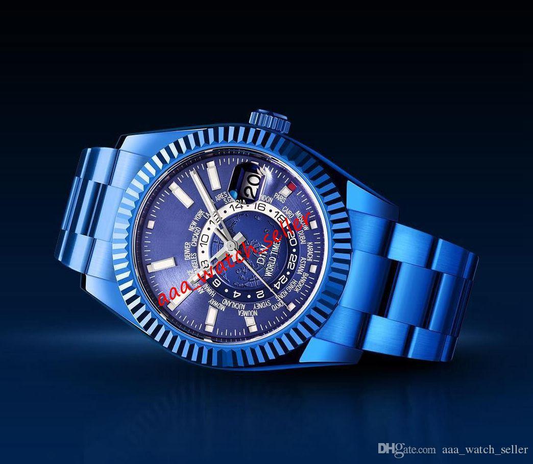 10 стилей Мужские роскошные часы Diw Master Sky Dweller 326935 326938 326939 Мировой таймер Автоматическое движение Хип-хоп Jay-z Версия на наручных часах