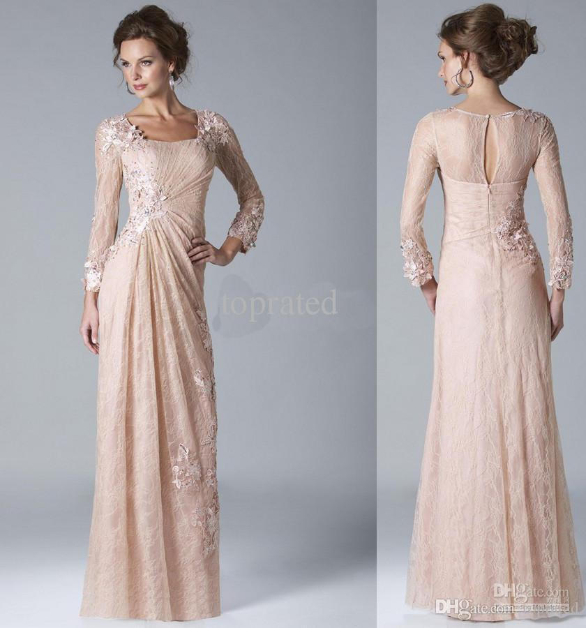 2020 New Collection Mother of the Bride Dresses Hollow Back Formal Gown Evening Dresses With Sheath Lace Appliuqes Long Sleeve Ankle-Length