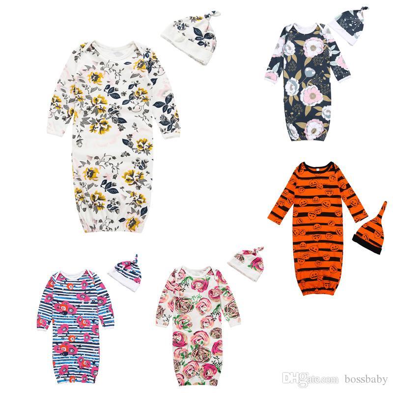 Newborn Baby Sleeping Bag Halloween Theme 5 Color Long Sleeve Striped Little Floral Pajamas Baby Anti-Kick Warm Sleeping Bag Hat Set 06