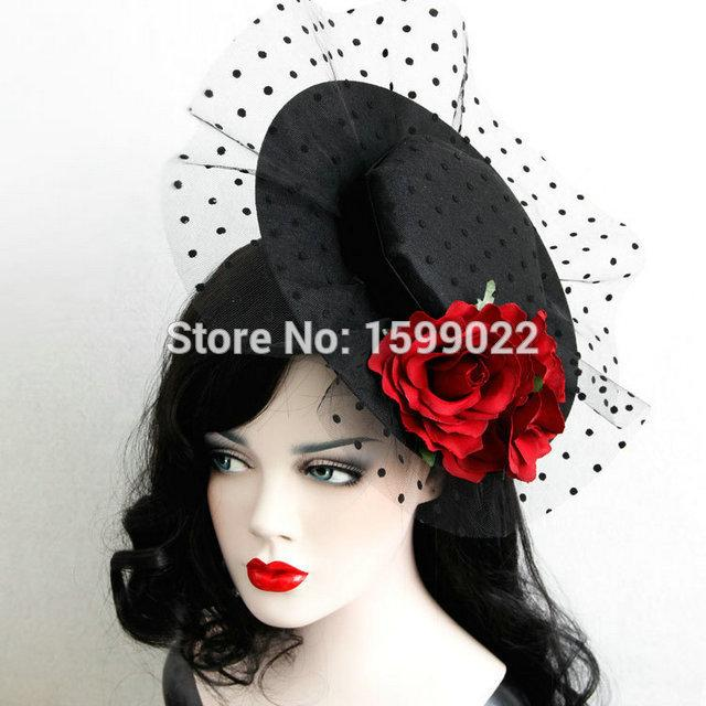 Black Lady Women Hat Hair Clip Victorian Veil Rose Headdress Cocktail Wedding Party Church Prom Headpiece