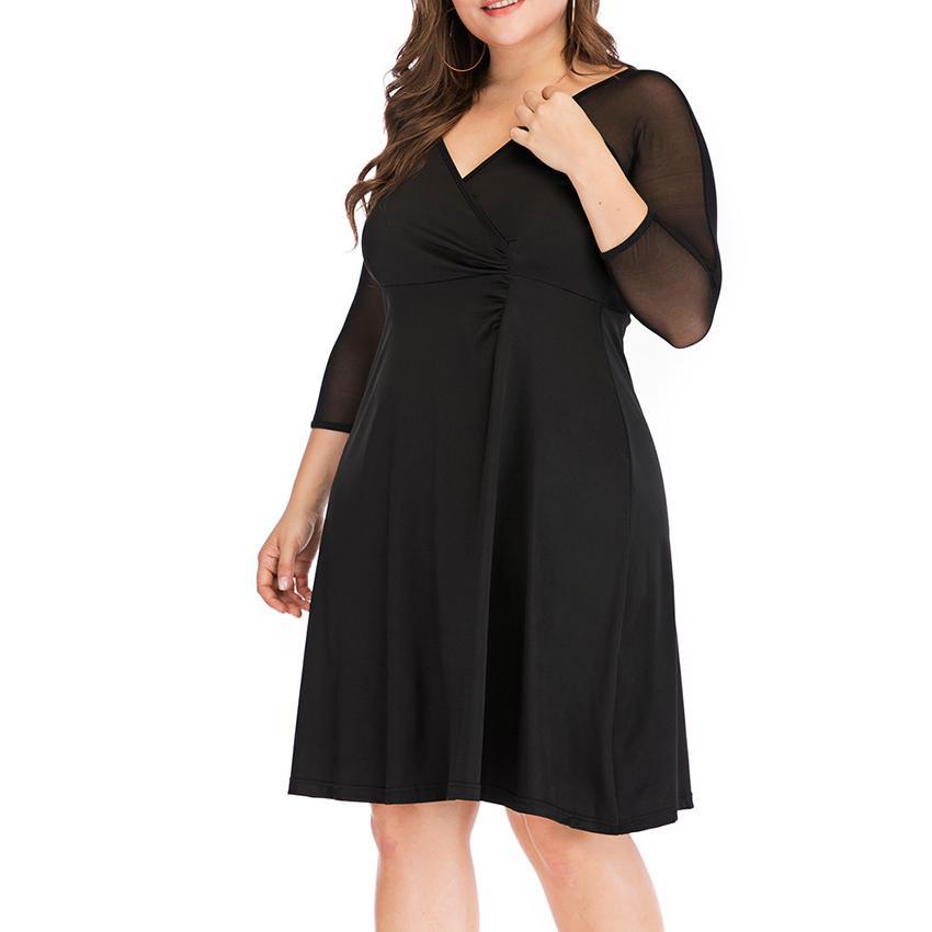 Plus Size Women Sexy Dress See Through Half Sleeve Elegant Ladies V-Collar Casual Party Black Midi Dress For Women Clothing Tops
