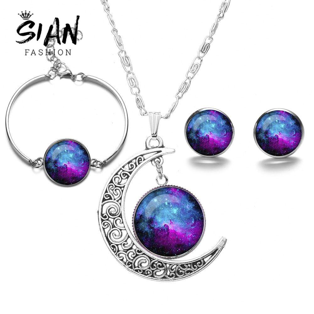SIAN Silver Color Space Galaxy Nebula Conjuntos de joyas Planet Moon Collar Stud Pendientes Pulsera Valentine's Wedding Set para mujeres