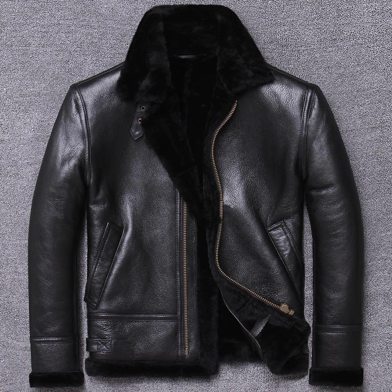 Kış Gerçek Deri Ceket Erkekler Kısa süet Coat shearlıng Gerçek Yün Astar Deri ceketler Veste Cuir Homme U802 KJ3197