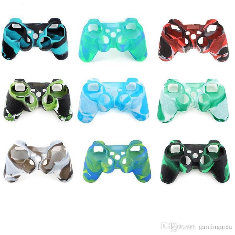 Gamepad camuflar silicone pele caso capa protetora para PS3 controlador playstaion 3 DHL FEDEX EMS FRETE GRÁTIS
