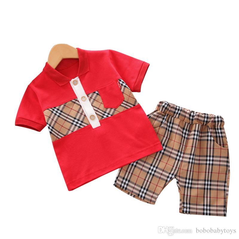 جديد صبي فتاة ملابس قصيرة الأكمام منقوشة تي شيرت السراويل اثنين من قطعة بدلة 1-4Years ملابس أطفال معطف العلامة التجارية الأطفال بنطلون الملابس مجموعات B106