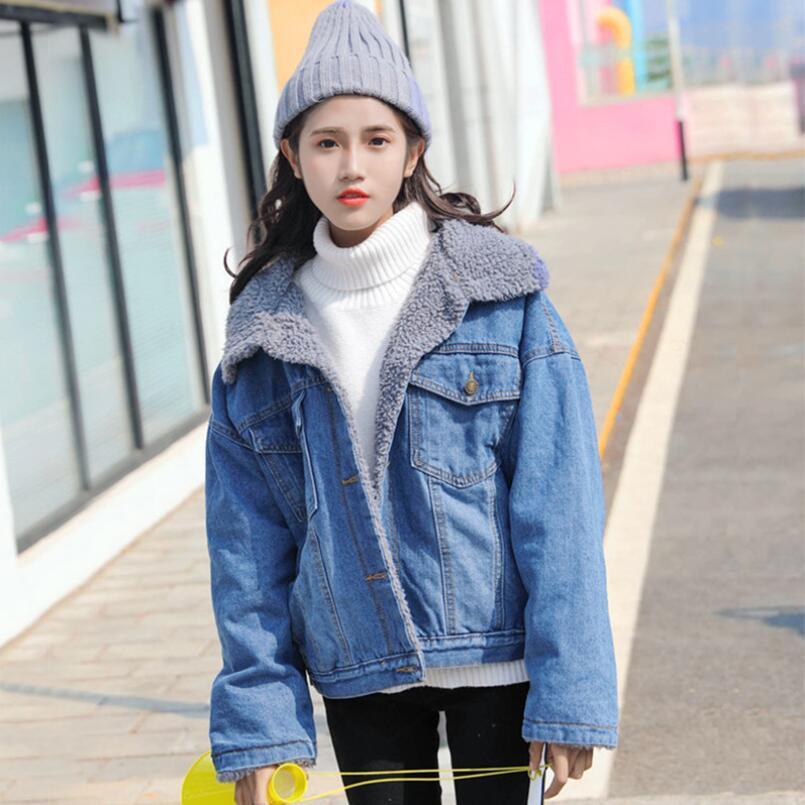 Primavera Outono Inverno Nova 2018 Mulheres lambswool jean Brasão Com 2 bolsos mangas compridas quentes Jeans Brasão Outwear Grande Denim Jacket
