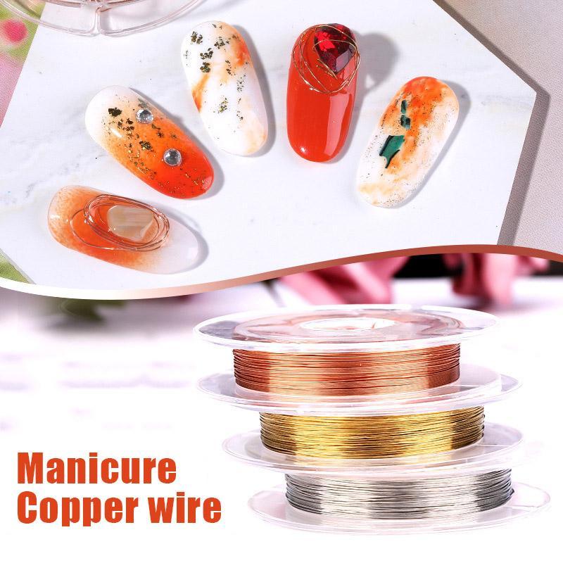 1 rollo de alambre de cobre del arte del clavo de la decoración 3D DIY Línea Consejos Rhinestones Suministros de manicura de joyería WH998