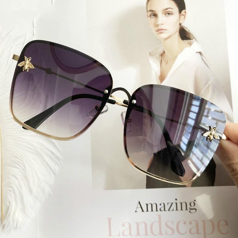 Donne Occhiali Da Sole oculos carino ape disegno a specchio Femminile Occhiali Da Sole Piazza feminino zonnebril dames gafas occhiali da sole
