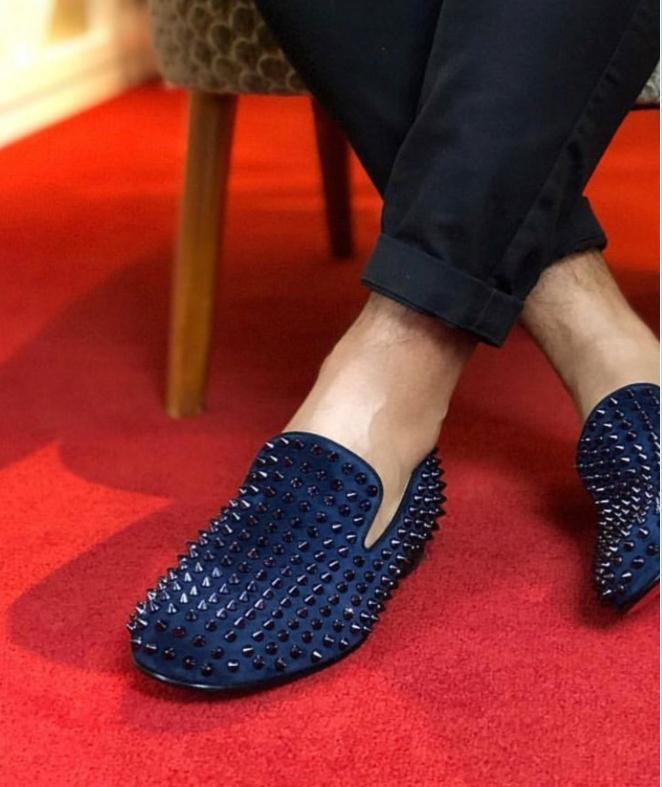 2020 Pik Pik Rivets Genuine Leather Red Bottom Oxfords Dress Shoes Men Spikes Luxurious Full Studs Leisure Party Dress Wedding Shoe