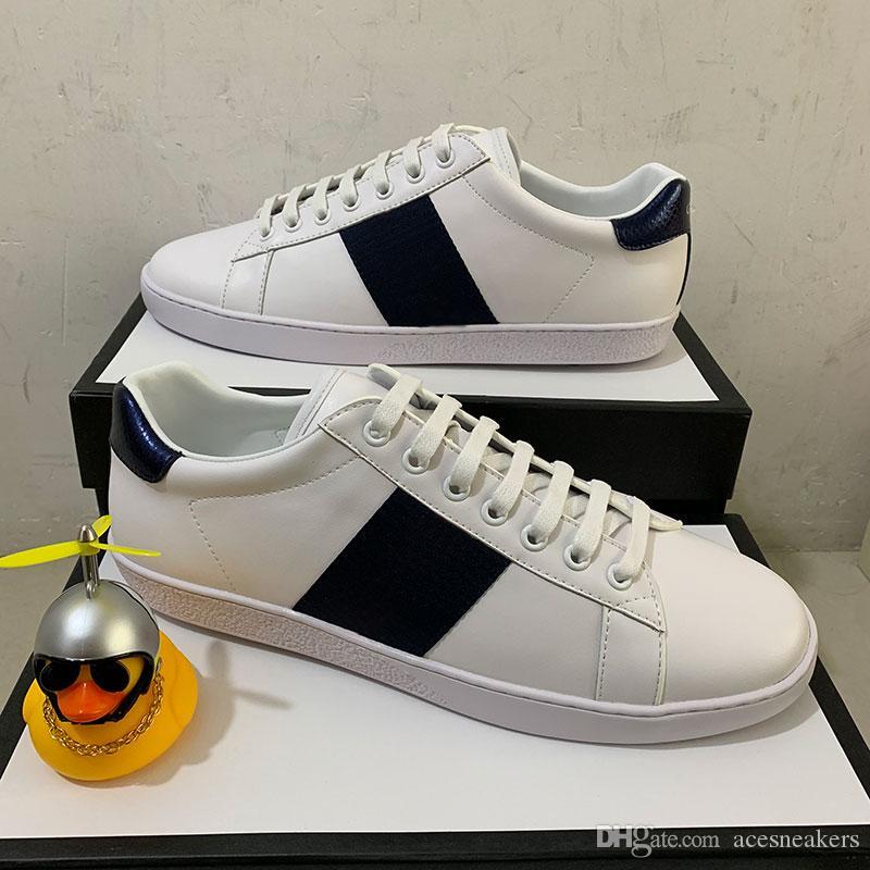 أعلى جودة الشريط الجديد مصمم أحذية النحل الأبيض ACE مطرز الرجال النساء جلد طبيعي مصمم حذاء رياضة حذاء عرضي أسفل أحمر