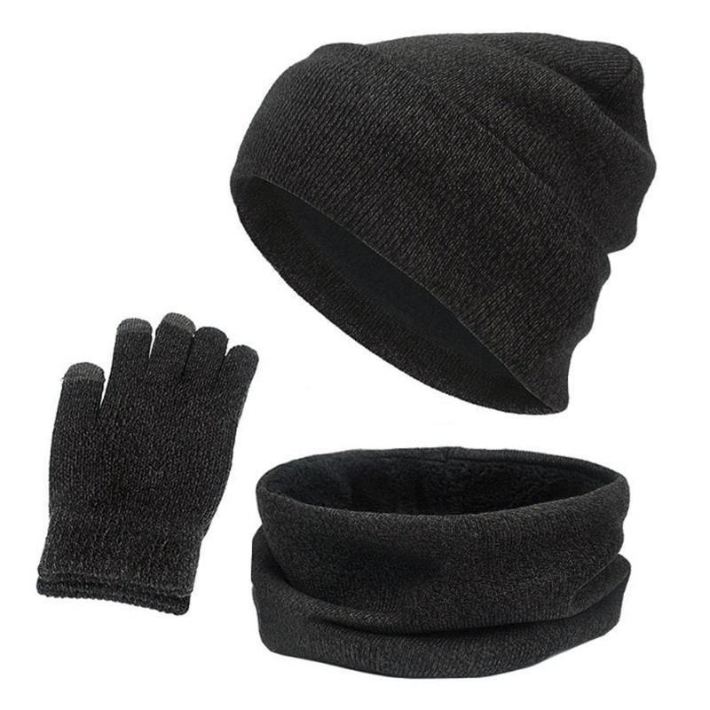 Winter New Fashion Warm Hat Scarf Gloves Set Women and Men Neck Warmer Touch Screen Gloves Knitted Fleece Scarf Beanie Cap