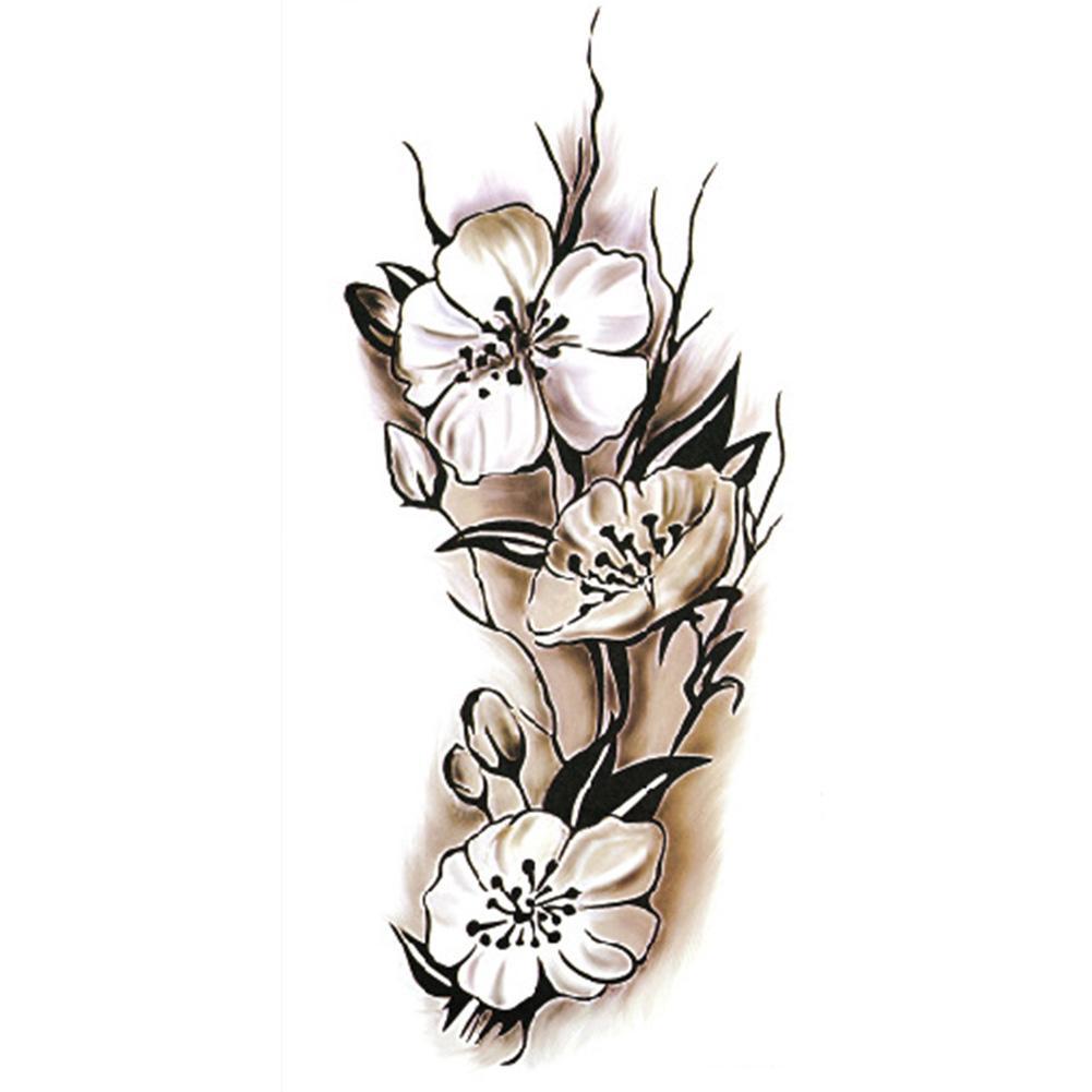 Seksi Kadınlar Geçici Dövme Erik Çiçeği Su Geçirmez Dövme Çıkartma 9 * 18.5 cm Vücut Sanatı Çiçek