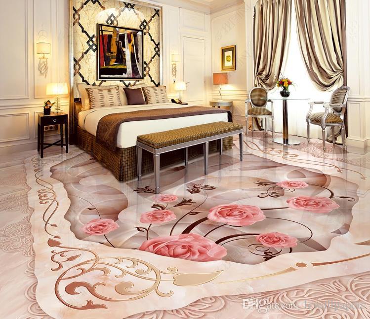 3D personalizado piso gran mural Modelo de mármol arte 3D Salón Dormitorio Baño del centro comercial suelo de PVC fondo de pantalla a prueba de agua