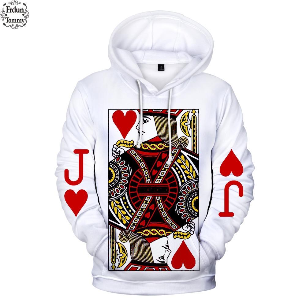 Frdun Poker Sudaderas con capucha 3D Hombres 2019 Moda Casual Sudaderas Nuevo estilo Exclusivo Divertido Caliente Sudaderas con Capucha 3D Streetwear XXS-4XL