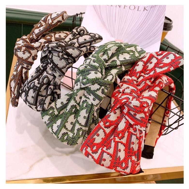 Популярные 4 цвета Дизайнер Bands оголовье Известные письма Упругие волосы тавра оголовье Silk Престижное ювелирные изделия Лучший подарок для женщин
