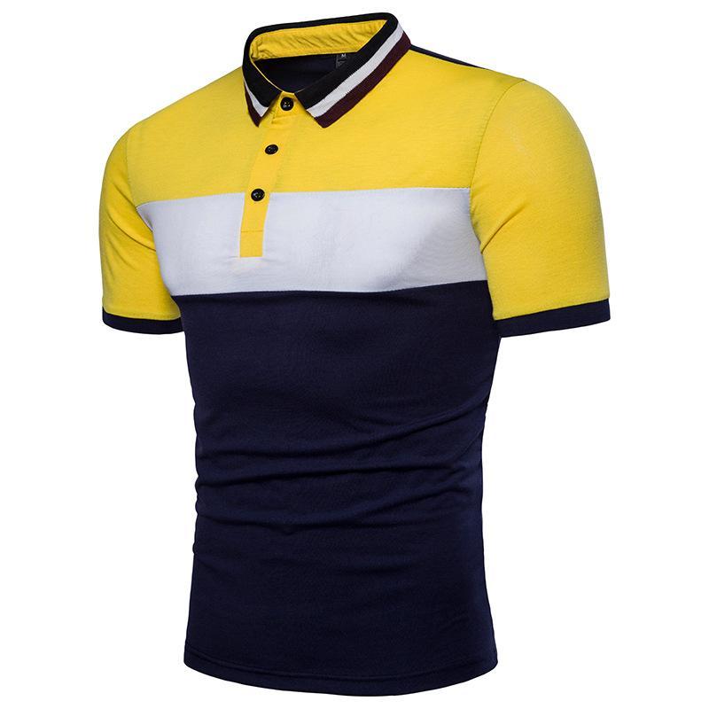 여름 새로운 2019 폴로 셔츠 남자 단색 패치 워크 비즈니스 캐주얼 폴로 옴므 짧은 소매 스트라이프 폴로 셔츠 J190708