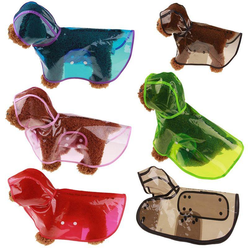 1PCS Pet Rain Poncho Transparent Pet Raincoat Eco-friendly Dog Rain Jacket Dog Rain Clothes Red Blue Color