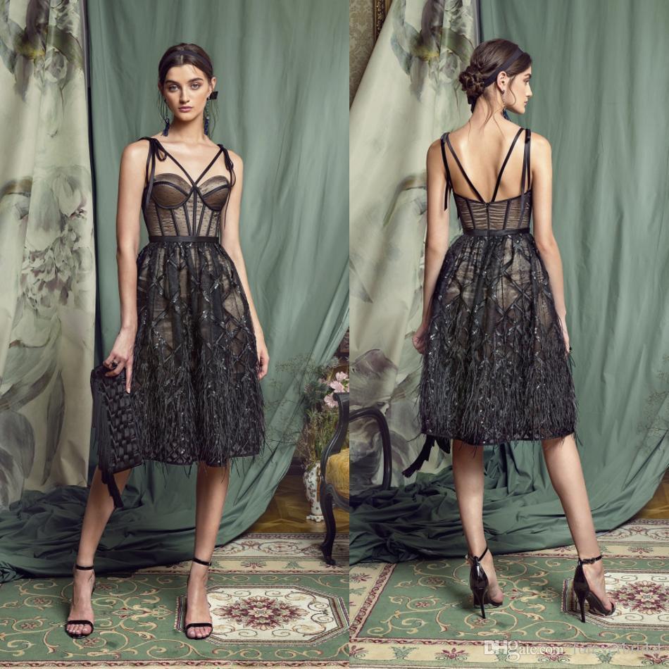 Black Mother Of Bride Dresses Spaghetti Sleeveless Short Mother's Dresses Knee Length Applique Formal Prom Dresses