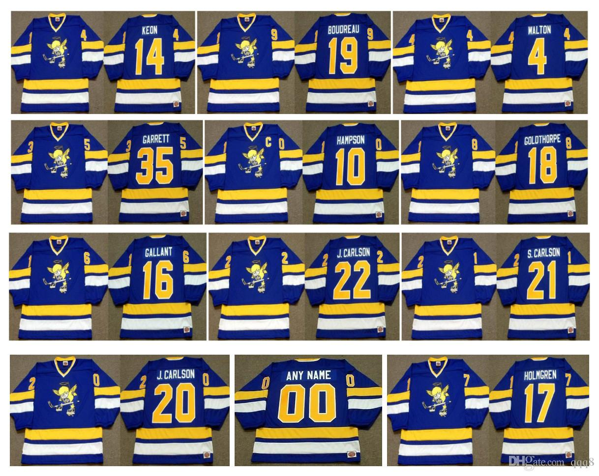 Vintage Minnesota Mücadele Saints Jersey 35 JOHN GARRETT 16 GORD GALLANT 20 Jack Carlson 17 PAUL HOLMGREN Mavi Özel hokey Özelleştirmek