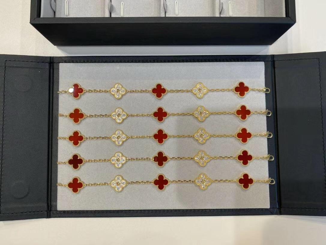 qualità di lusso V di metallo cinque fiori braccialetto punk con il diamante e la natura agata rossa per le donne di nozze regalo gioielli PS5344A trasporto libero